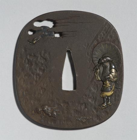 nieznany, Tsuba z przedstawieniem sługi świątynnego i bramy