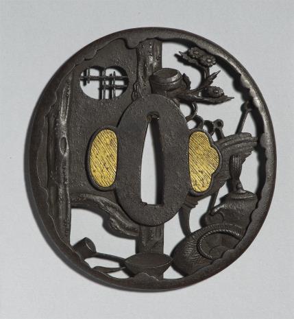 nieznany, Tsuba z dekoracją wyobrażającą przybory do