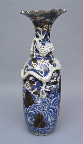 nieznany, Wazon z chińską dekoracją i smokiem
