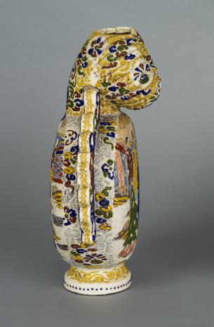 nieznany, Wazon w kształcie spłaszczonej tykwy z dekoracją figuralną