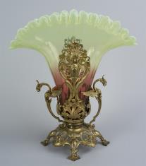 Wazon szklany w kolorze różowo-zielonym