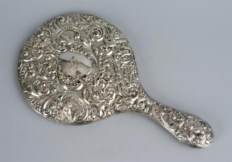 nieznany, Lusterko w oprawie srebrnej