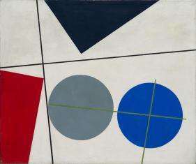 Reprodukcja obrazu. W poziomie na białym tle cztery figury geometryczne: dwa okręgi szary i niebieski oraz przylegające do krawędzi granatowy trójkąt i czerwony trapez.