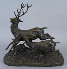 Jeleń i łania z jelonkiem