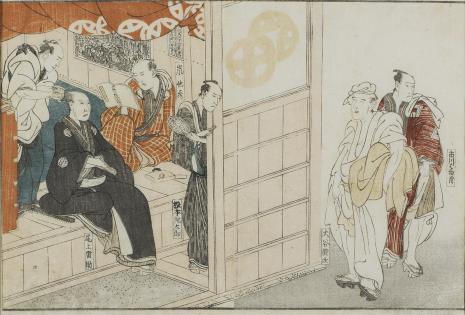 Toyokuni Utagawa, Pięciu aktorów w garderobie teatru i na ulicy
