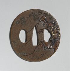 Tsuba z wyobrażeniem Chokaro wyczarowującego muła z flaszki