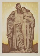 Mężczyzna obejmujący ramieniem nagą kobietę