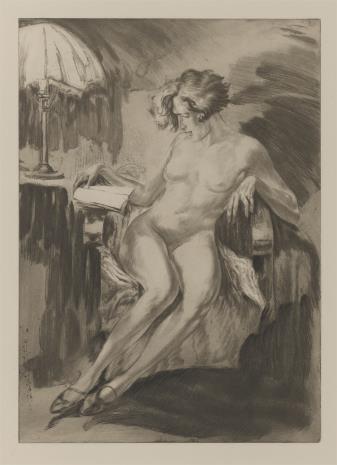 nieznany, Naga kobieta siedząca w fotelu