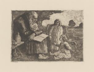 Pustelnik z dwoma aniołkami