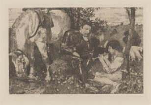 Rycerz słuchający pastuszka grającego na fujarce
