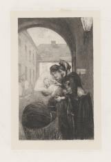 Dwie kobiety, z których jedna trzyma niemowlę wyjęte z wózka