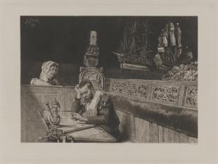 Mężczyzna w ubiorze z XVII w. siedzący w portowej gospodzie