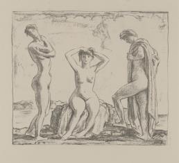 Trzy nagie kobiety nad brzegiem morza