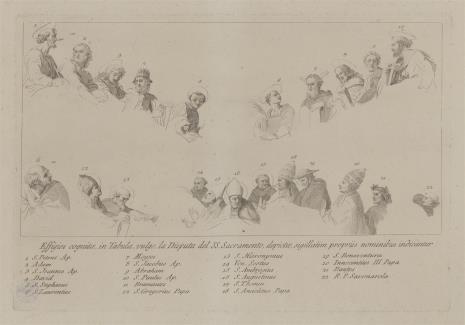 Giovanni Volpato, Szkice postaci do ryciny przedstawiającej dysputę o Najświętszym Sakramencie