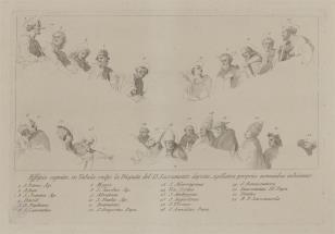 Szkice postaci do ryciny przedstawiającej dysputę o Najświętszym Sakramencie