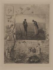 Kompozycja złożona z kilku reprodukowanych prac J. F. Milleta