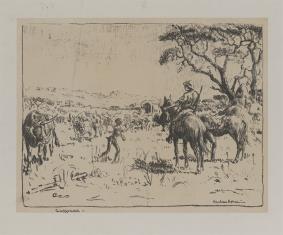 Scena z osadnictwa w południowej Afryce