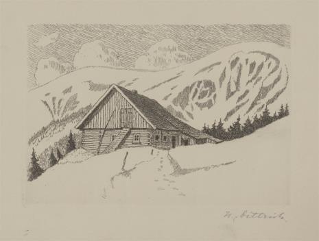 Walter Dittrichs, Chata na tle zimowego krajobrazu
