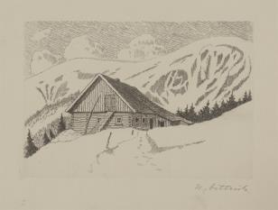 Chata na tle zimowego krajobrazu