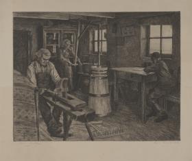 Wnętrze izby chłopskiej, z kobietą robiącą masło