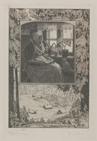 Erich Fuchs, Staruszka czytająca we wnętrzu izby - kompozycja otoczona fragmentem krajobrazu zimowego