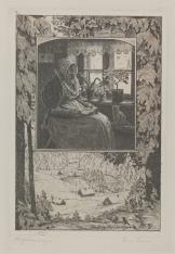 Staruszka czytająca we wnętrzu izby - kompozycja otoczona fragmentem krajobrazu zimowego