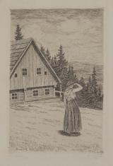 Kobieta przed chatą