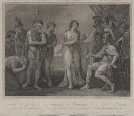 Francesco Bartolozzi, Karaktatus przed wodzem rzymskim Ostoriusem pl. N.119 z wydanictwa: