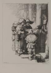 Rodzina żebracza otrzymująca jałmużnę u wrót domu