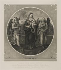 Matka Boska z Dzieciątkiem adorowana przez dwa grające anioły