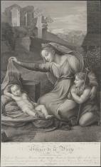 Matka Boska ze śpiącym Dzieciątkiem i świętym Janem na tle ruin