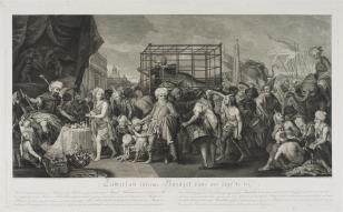 Bajazet uwięziony w klatce przez Tamerlana