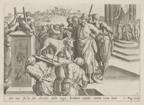 Claes Jansz Visscher, Jeroboam rozkazuje wnieść na ołtarz złotego cielca