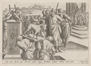 Jeroboam rozkazuje wnieść na ołtarz złotego cielca