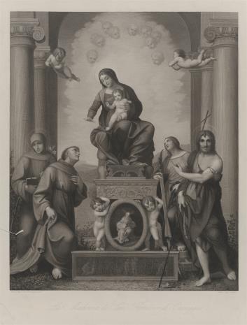 Peter Lutz, Matka Boska z Dzieciątkiem, w glorii anielskiej, w otoczeniu czterech świętych