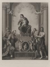 Matka Boska z Dzieciątkiem, w glorii anielskiej, w otoczeniu czterech świętych