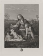 Matka Boska osłaniająca welonem śpiące Dzieciątko, obok św. Jan Chrzciciel