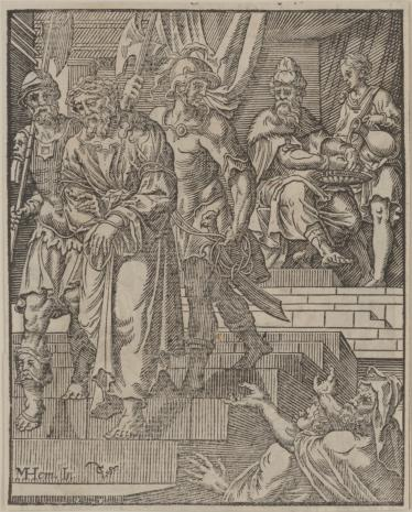 Christoph Młodszy Sichem, 1. Piłat umywa ręce 2. Zmartwychwstanie (na odwrocie)
