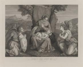 Matka Boska z Dzieciątkiem, adorowana przez anioły