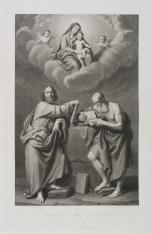 Święty Piotr i święty Paweł, w górze Matka Boska z Dzieciątkiem