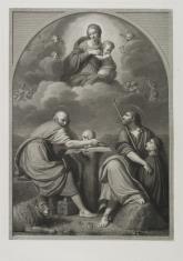 Dwaj Ewangeliści: św. Marek i św. Mateusz, w górze Matka Boska z Dzieciątkiem