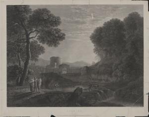 Krajobraz z ruinami zamku i sztafażem figuralnym