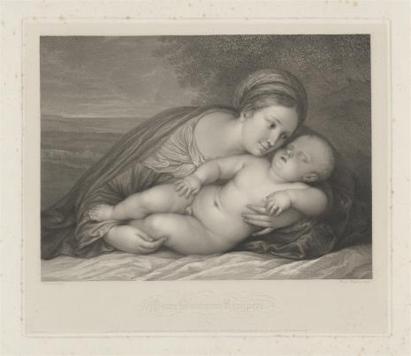 Raphael Morghen, Matka Boska ze śpiącym Dzieciątkiem, na tle krajobrazu