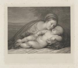 Matka Boska ze śpiącym Dzieciątkiem, na tle krajobrazu