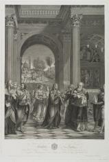 Ofiarowanie Dzieciątka Jezus w świątyni, w głębi scena powrotu świętej Rodziny z Egiptu