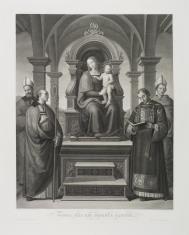 Matka Boska z Dzieciątkiem siedząca na tronie w otoczeniu czterech świętych
