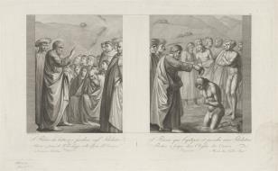 1. św. Piotr nawracający pogan 2. św. Piotr udzielający chrztu poganom
