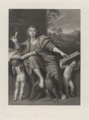 Święty Jan na wyspie Patmos piszący Ewangelię