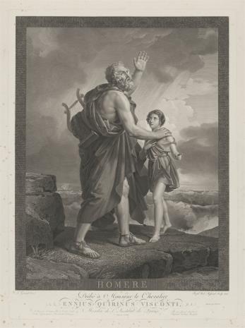 Jean Baptiste Louis Mł. Massard, Niewidomy Homer nad brzegiem morza