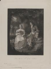 Ludwik XIV i panna de la Vallière na tle parku